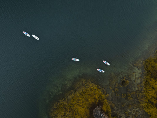 SUP stand up paddle boards in Lofoten from above